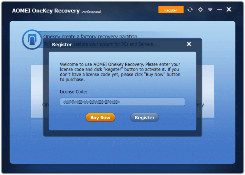 AOMEI OneKey Recovery Professional 1.6.2 Activating 1