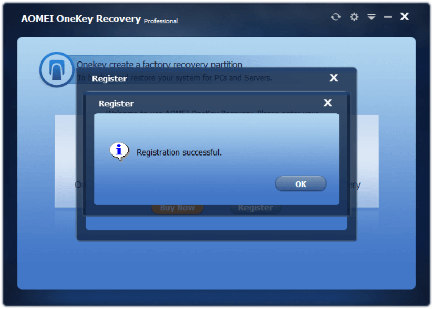 AOMEI OneKey Recovery Professional 1.6.2 Activating 2