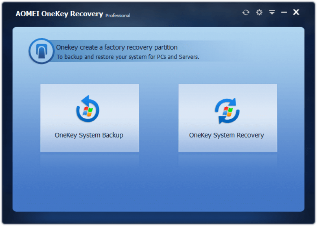 AOMEI OneKey Recovery Professional 1.6.2 Interface