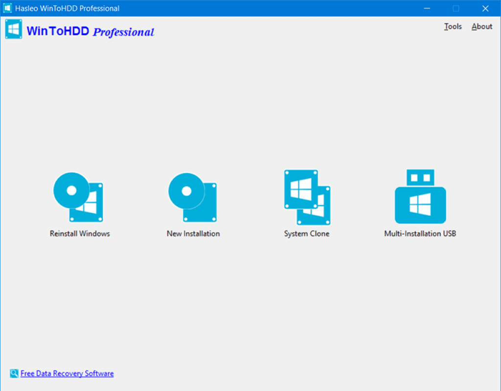 WinToHDD Professional 4 Interface