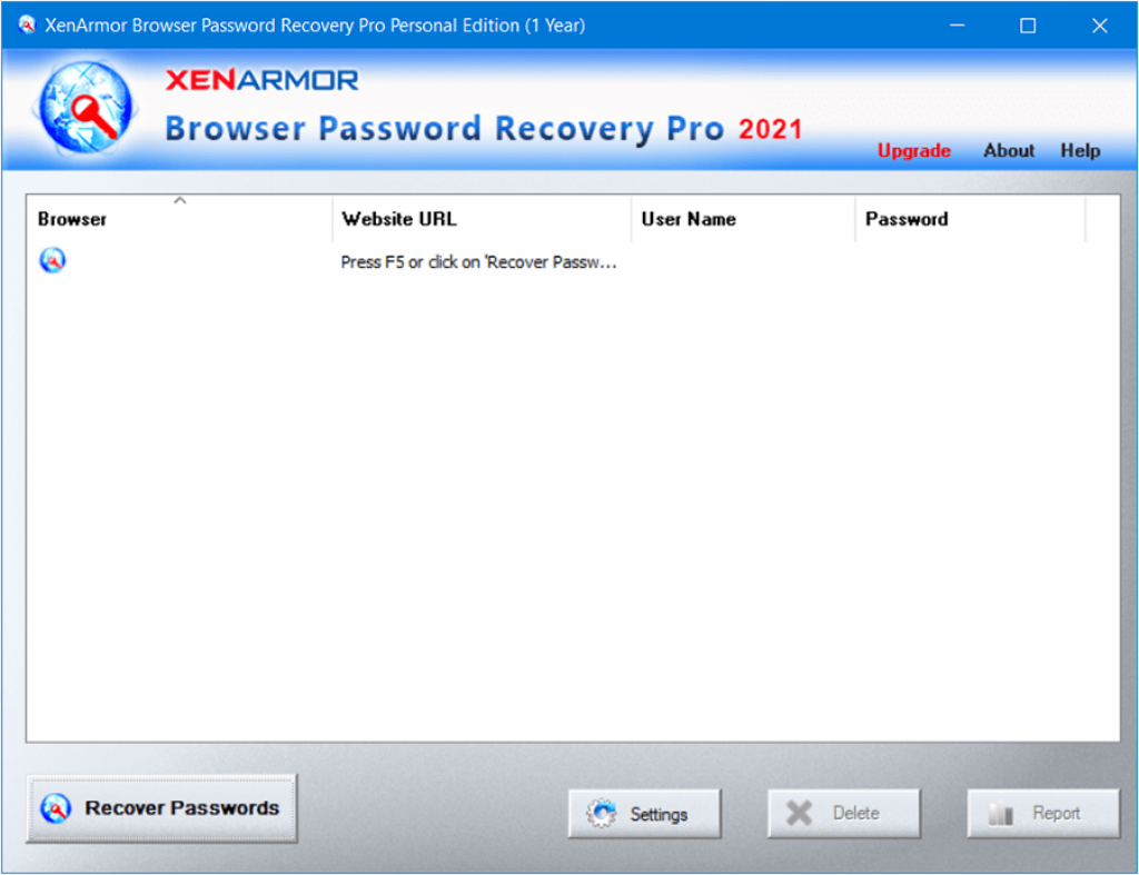 XenArmor Browser Password Recovery Pro 2021 Interface