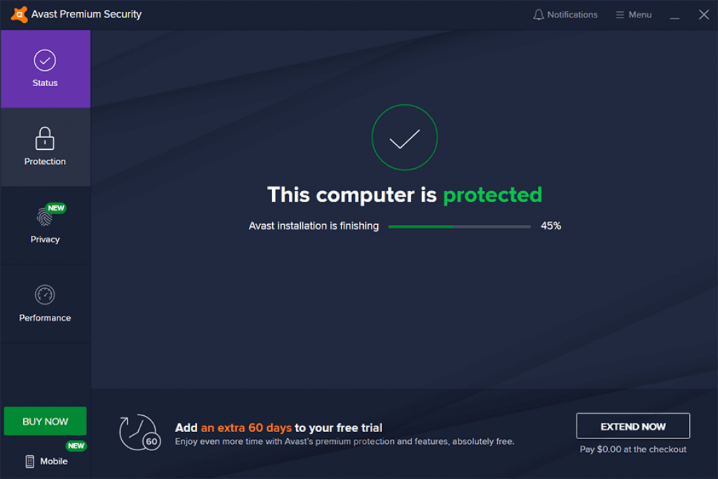 Avast Ultimate 3 Months Interface