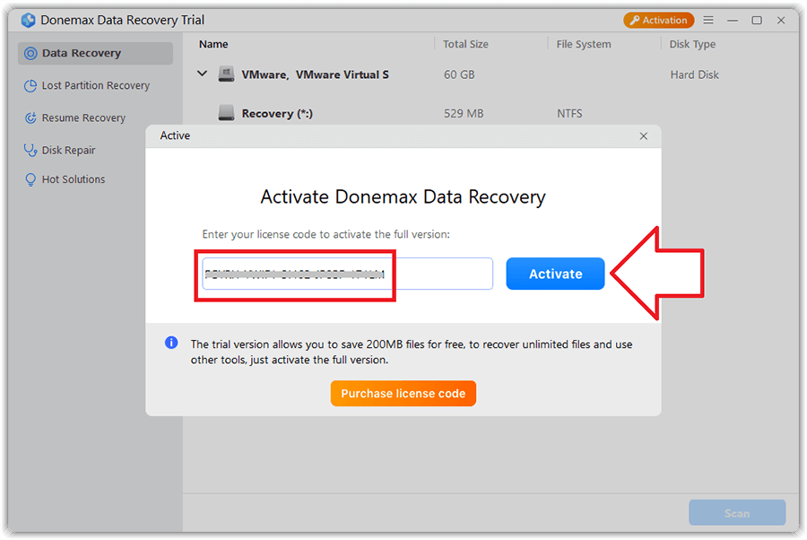 Donemax Data Recovery 1.0 Activating 2