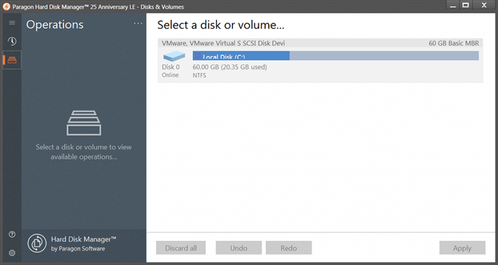 Paragon Hard Disk Manager 25 Anniversary LE Interface