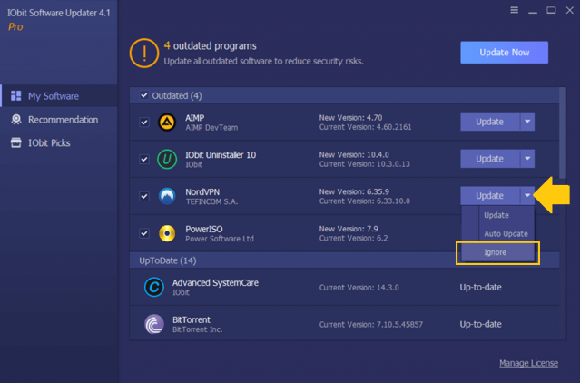iObit Software Updater PRO 4 Ignore List 1 Review
