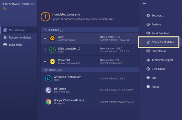 iObit Software Updater PRO 4 check for Updates Review