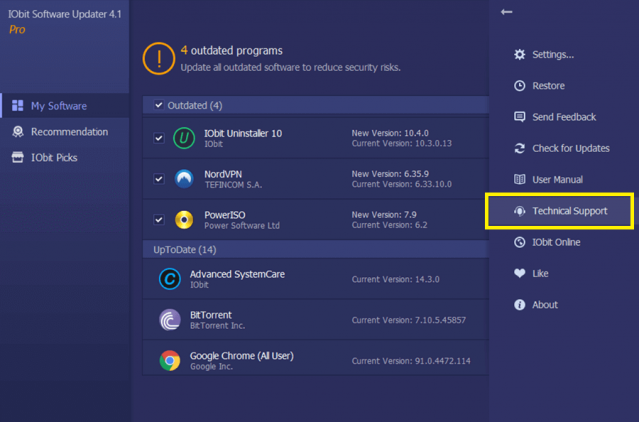 iObit Software Updater PRO 4 iObits Tech Support review