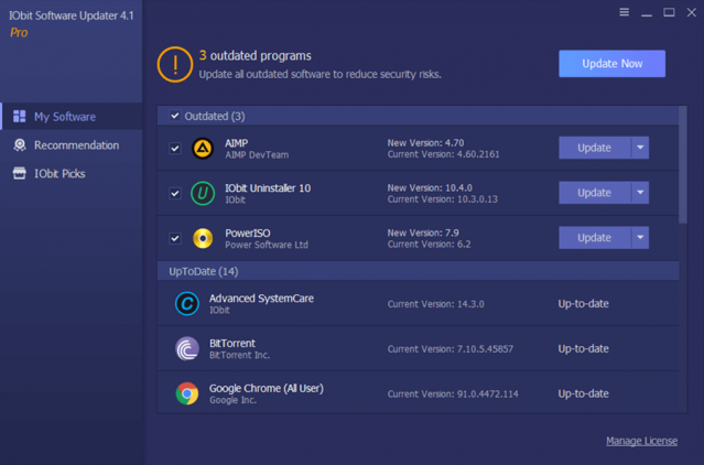 iObit Software Updater PRO 4 main interface review