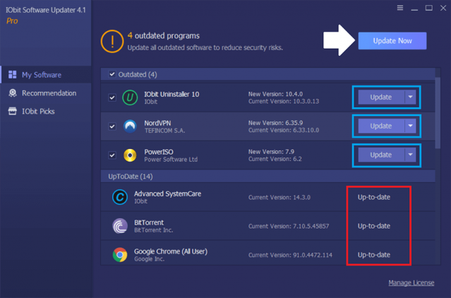 iObit Software Updater PRO 4 my software tab review