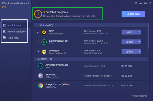 iObit Software Updater PRO 4 user interface ease of use review