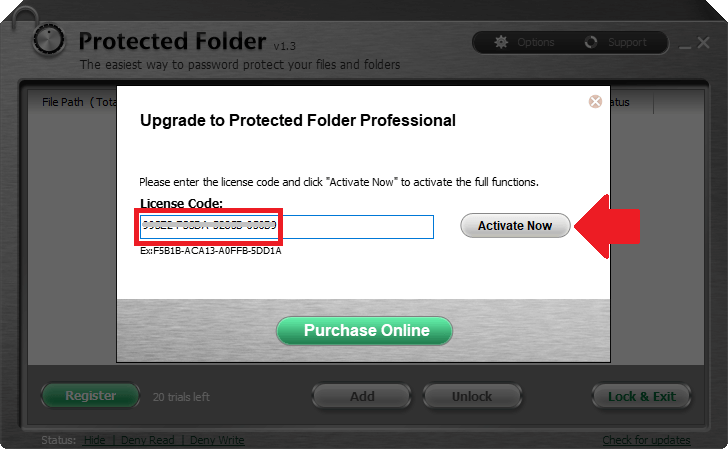 iObit Protected Folder 1.3 activating 2