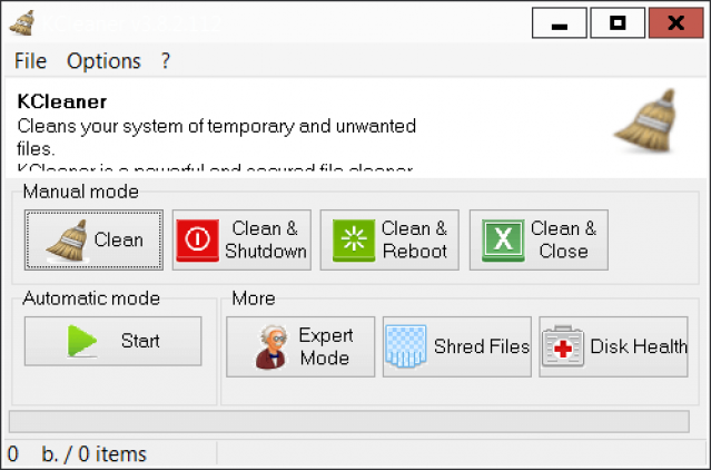 KCleaner 3.8.2 Interface